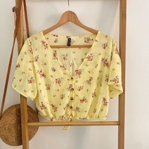 H&M yellow floral summer crop top